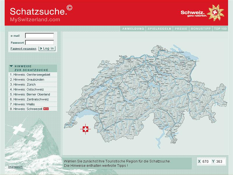 Schweiz Touristik, Gewinnspiel Schatzsuche