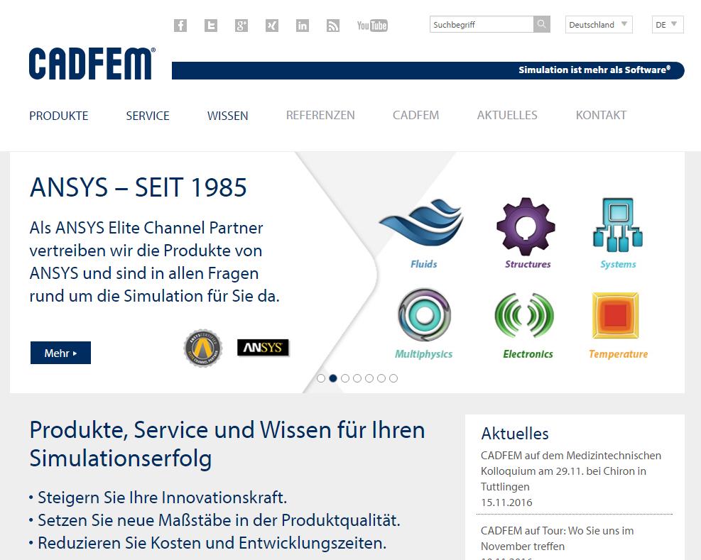 CADFEM GmbH, Grafing bei Müchen, Unterstützung beim Typo3-Launch