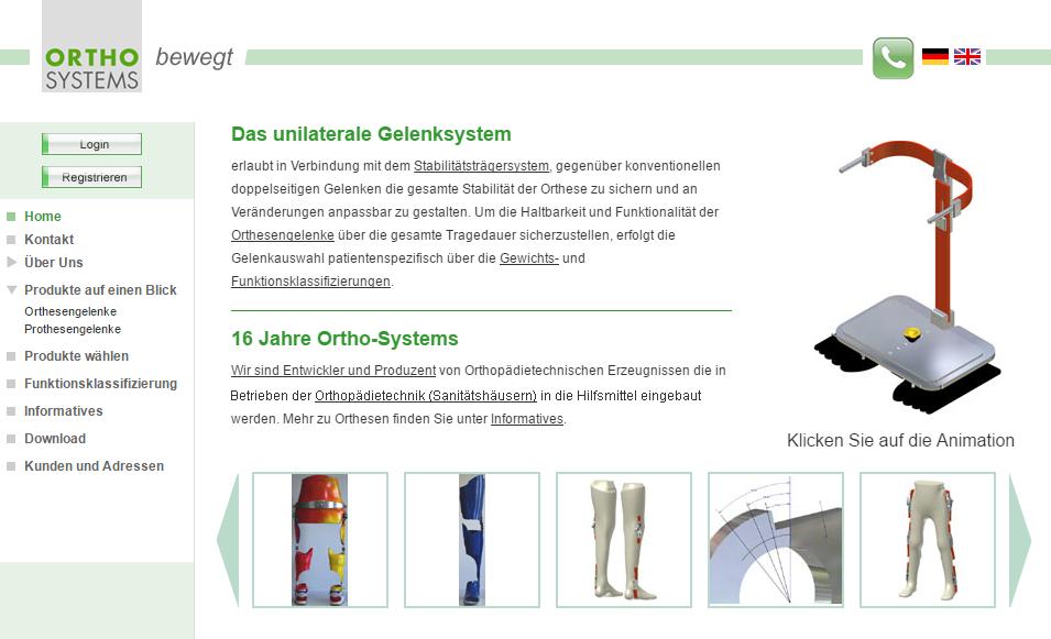 Ortho-Systems, Kirchheim bei München, Weiter-Entwicklung der Website seit 2003