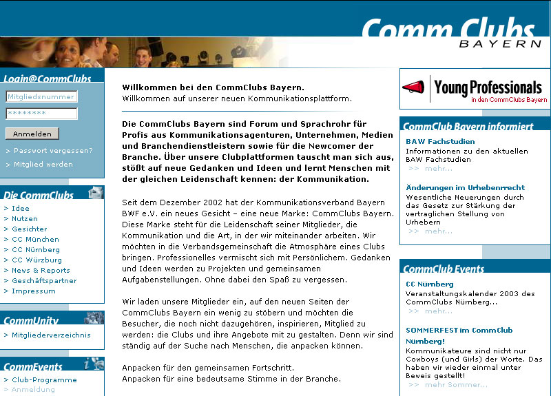 CommClubs München, Umsetzung mit CMS, 2002
