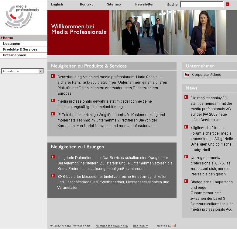 Media Professionals München, Umsetzung mit CMS, angestellt für Agentur 2002