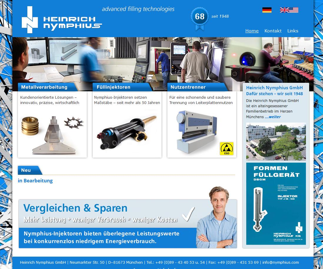 Nymphius GmbH, München, Weiterentwicklung der Website 2012-2016